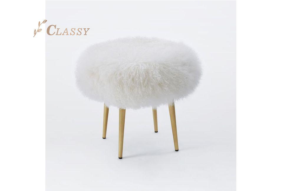 Fur Upholstery Bedroom Stool
