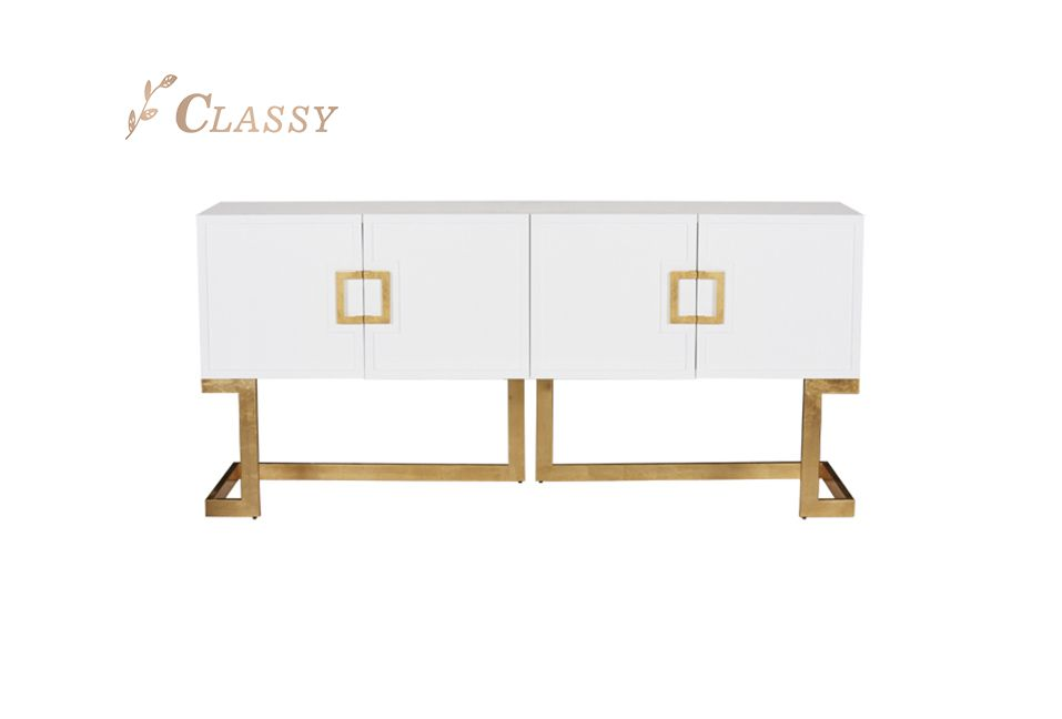 White Lacquer Media Console Table