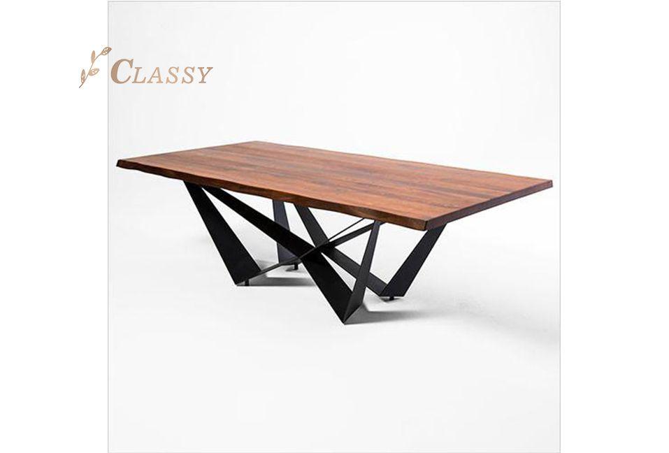 Black Polished Metal Base Dining Table