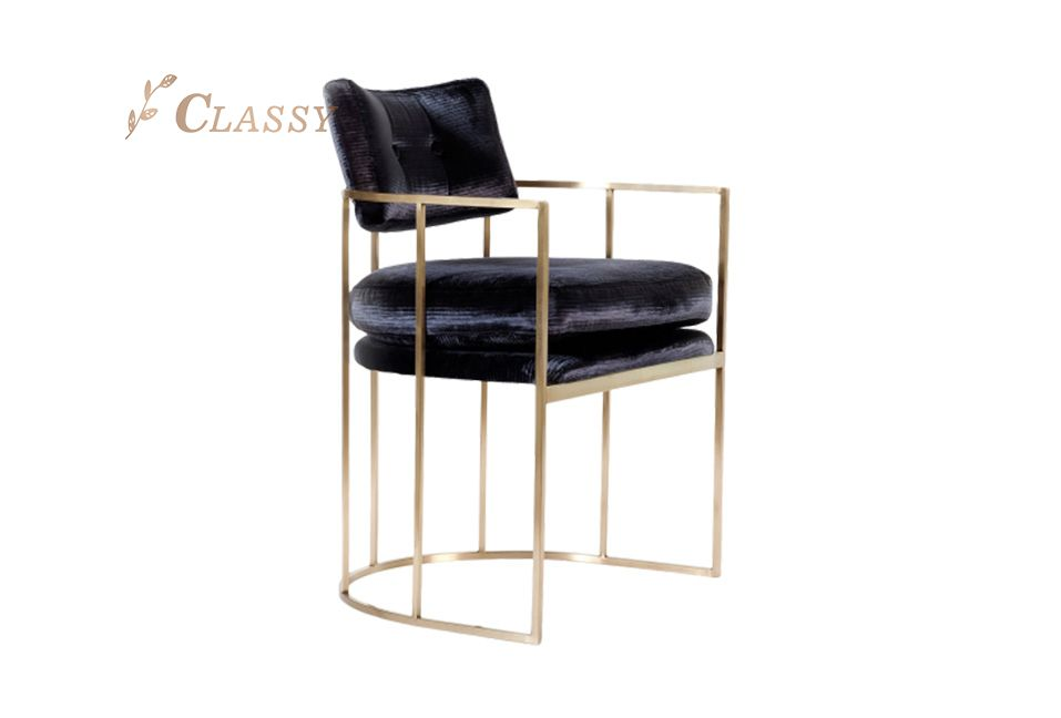 Velvet Upholstered Gold Dining Chair