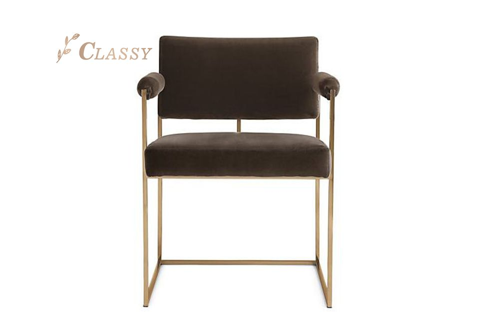 Black Velvet Dining Chair with Metal Frame