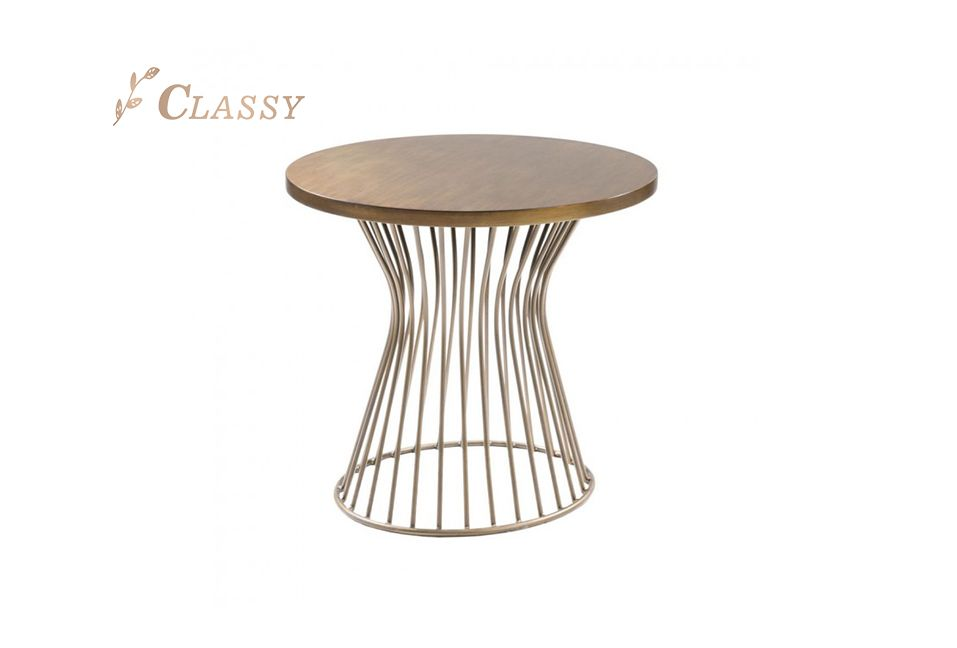 Round Shape Wood Top Side Table