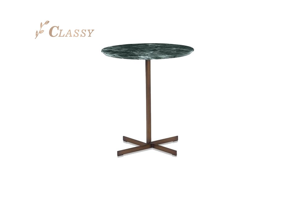 Green Marble Metal Side Table