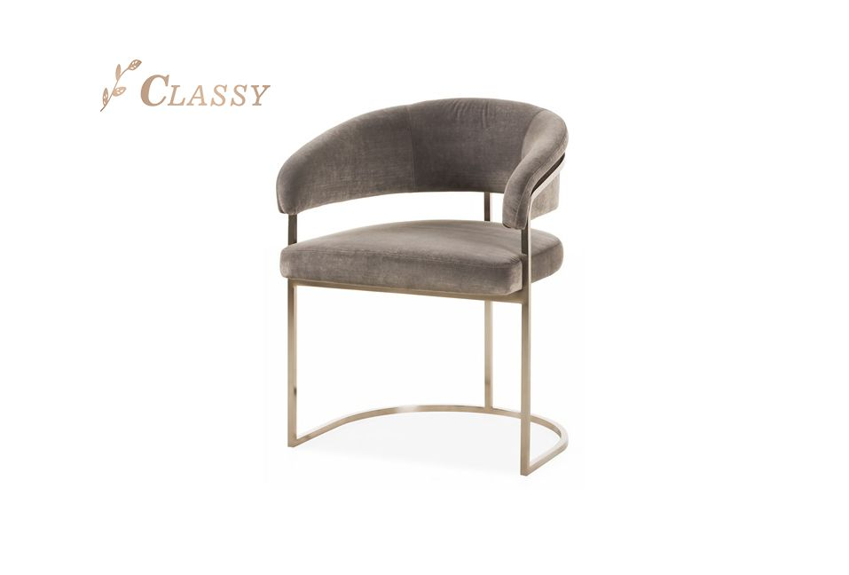 Modern Velvet Dining Chair with Curved Backrest
