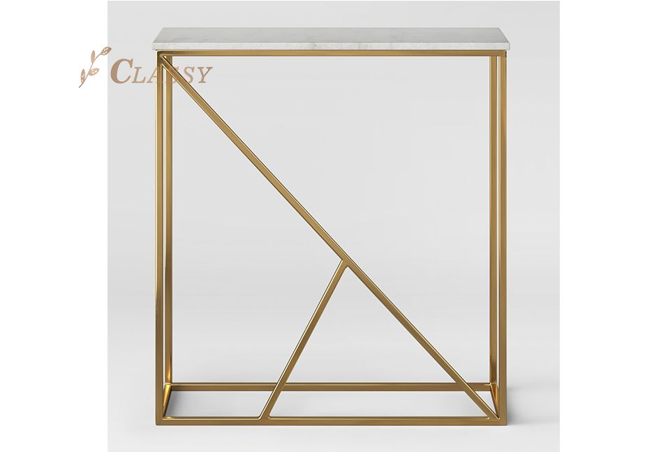 Marble White Gold Metal Console Table