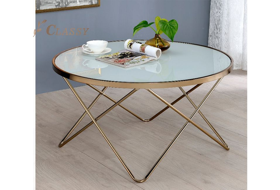 White lacquered Glass Coffee Table with  Gold Base