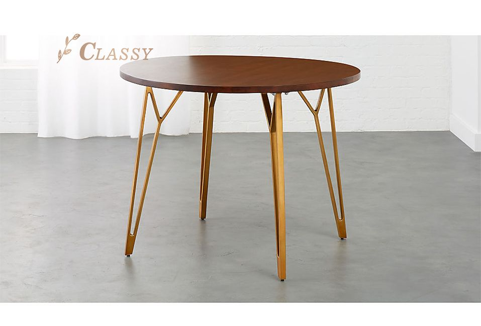 New Design Wood Dining Table with Gold Legs