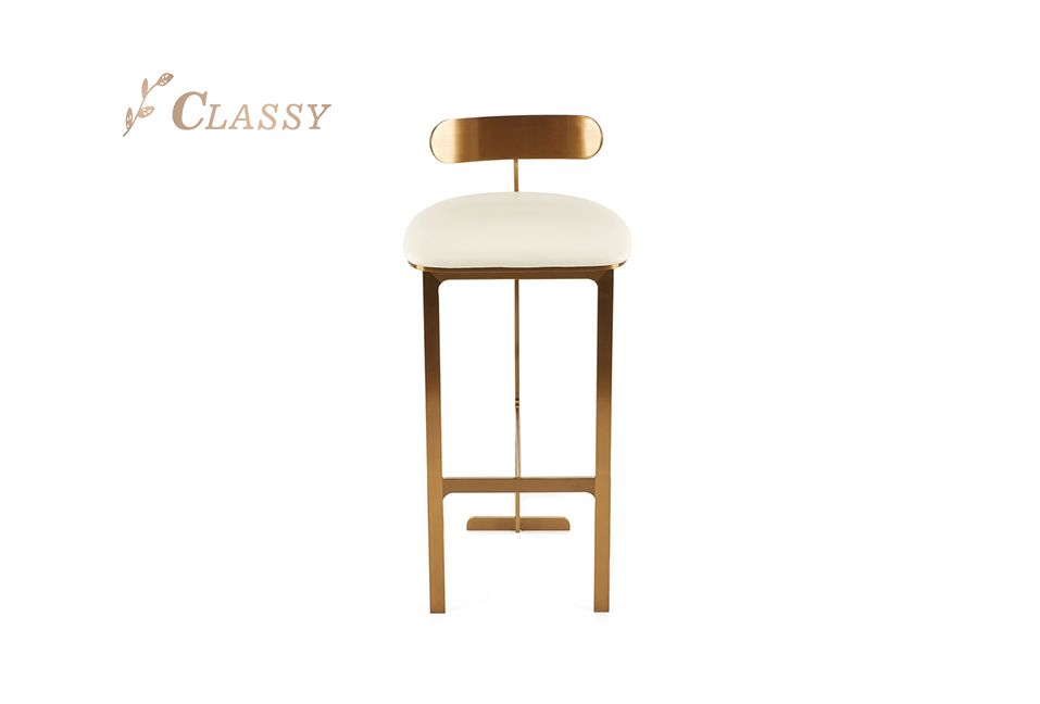 Goblet Bar Chair Stainless Steel Commercial Modern Stool Brushed Golden