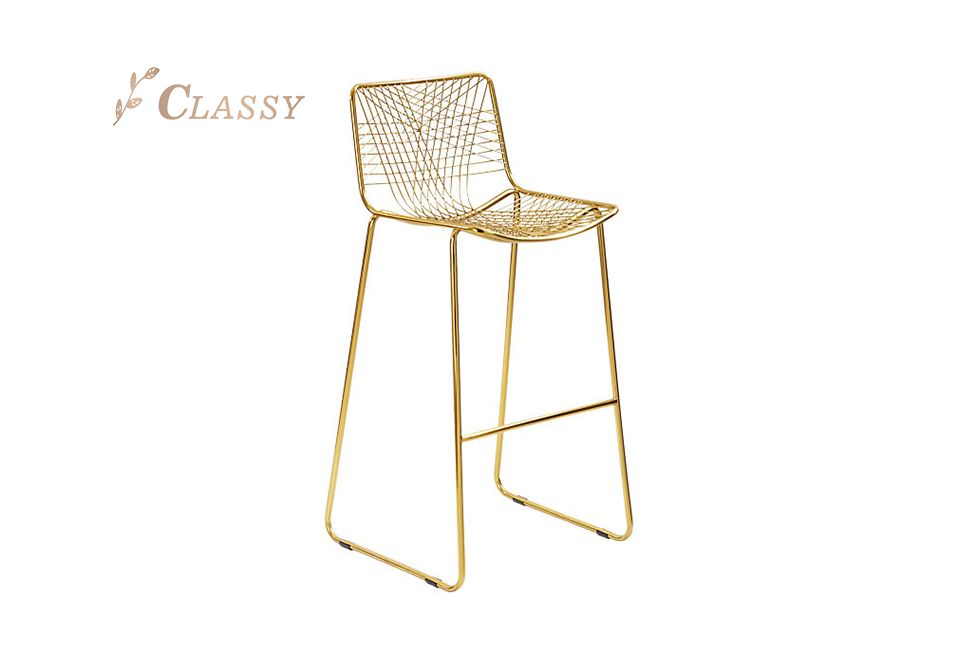 Cross Wire Rose Golden Stainless Steel Bar Chair Commercial Polished Golden