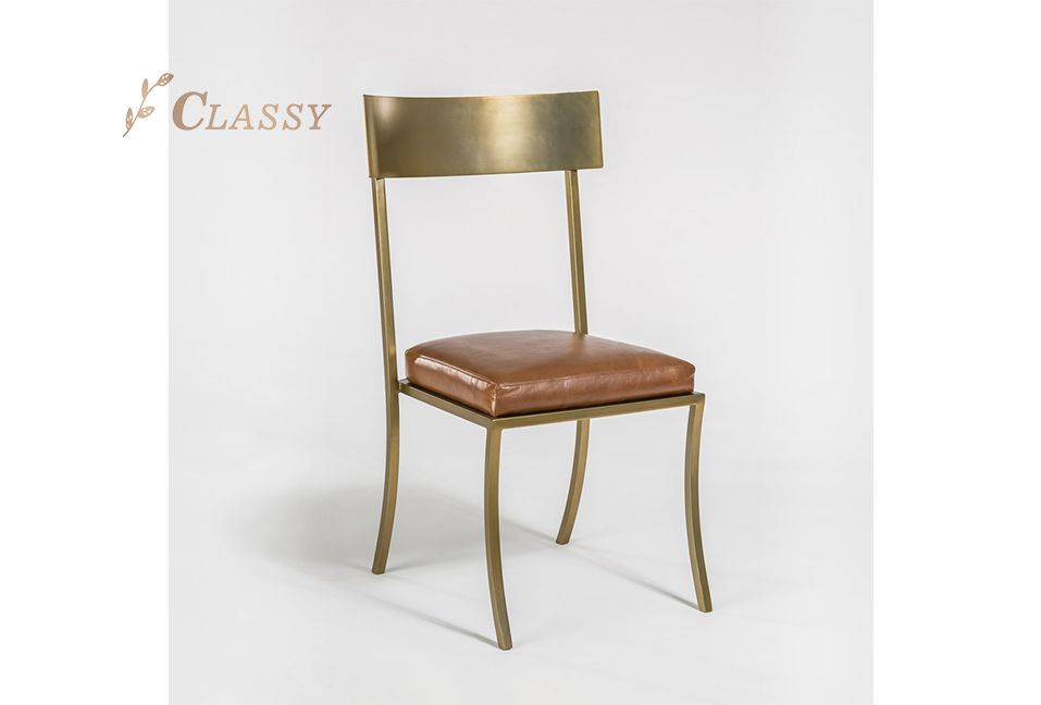Aron Industrial Style Chair Matte Bronze and PU/Leather Seating