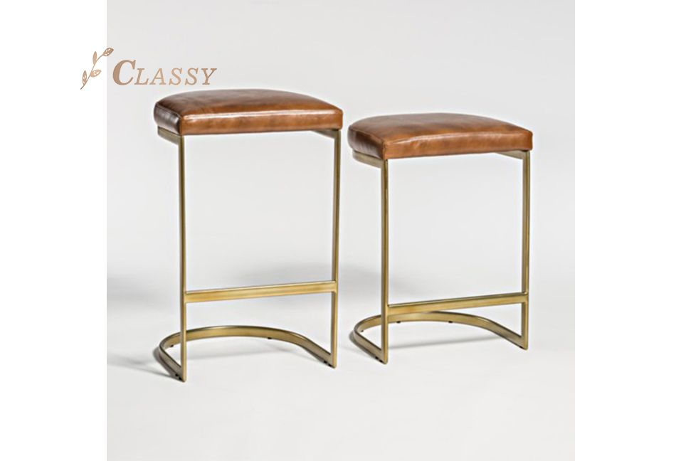 Bella Stool Whisky PU Seating and Matte Bronze Stainless Steel