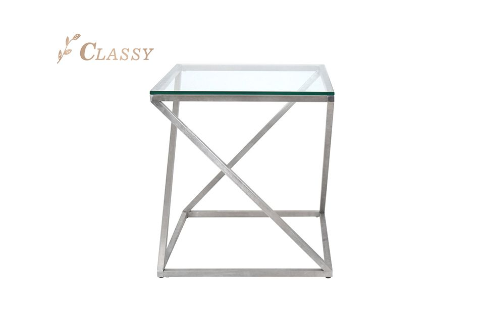 Square Side Table Tempering Glass Top Brushed Stainless Steel Frame Coffee