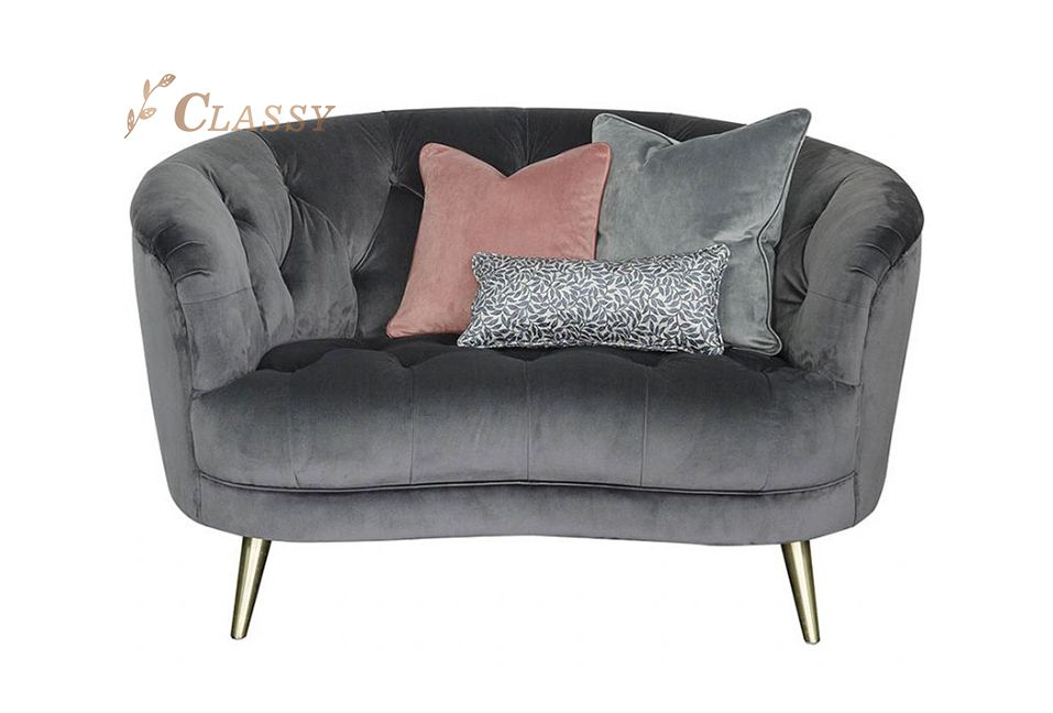Modern Home Furniture Velvet Metal Sofa