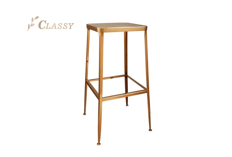 Billy Bar Stool Stainless Steel Commercial Use Rose Golden