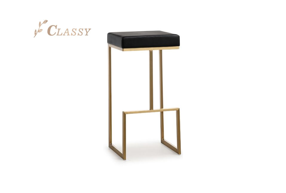 Director Bar Stool Stainless Steel PU Seating Brushed Finish Bronze