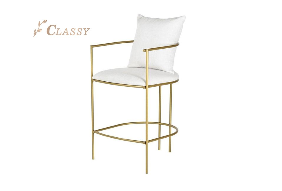 Hill Bar Chair Stainless Steel Bronze Fabric Seat and Back