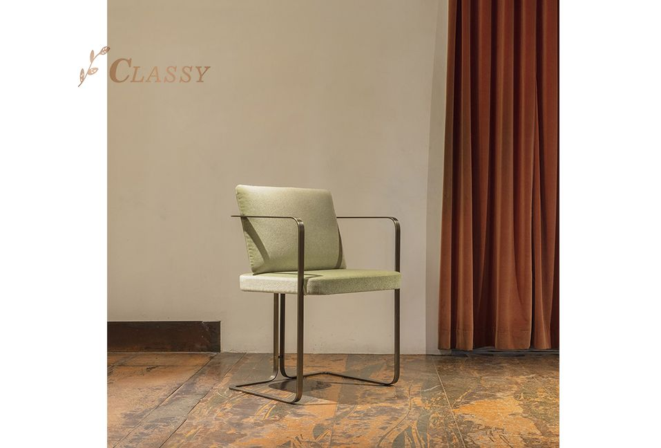 Study Chair Stainless Steel Frame and Fabric Seating and Back