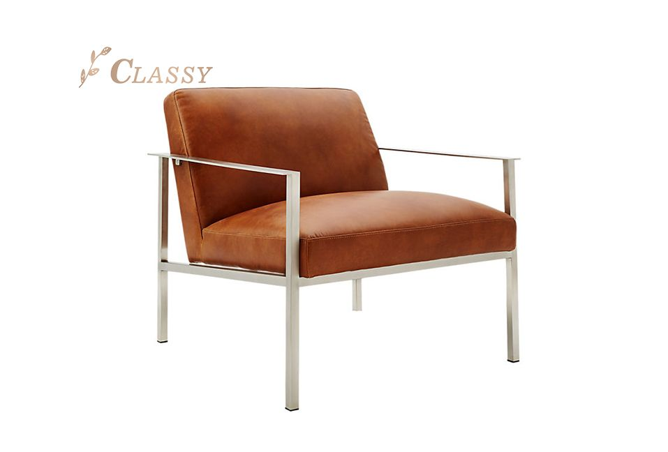 Brown Leather Accent Chair with Sliver Metal Frame