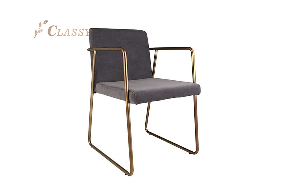 L Shaped Dining Chair Stainless Steel and Velvet