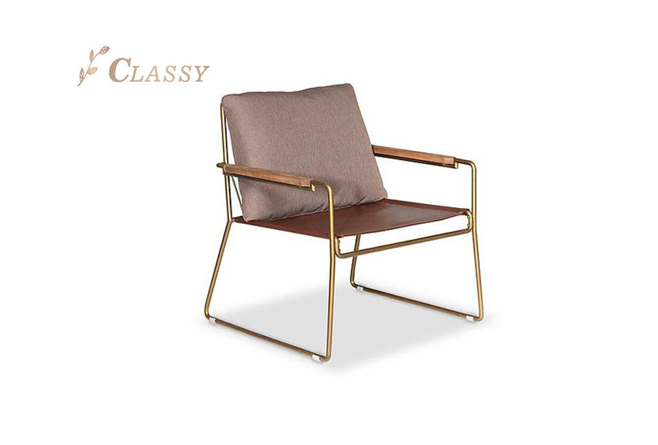 Director Arm Chair Stainless Steel Frame and PU Seat and Fabric Back