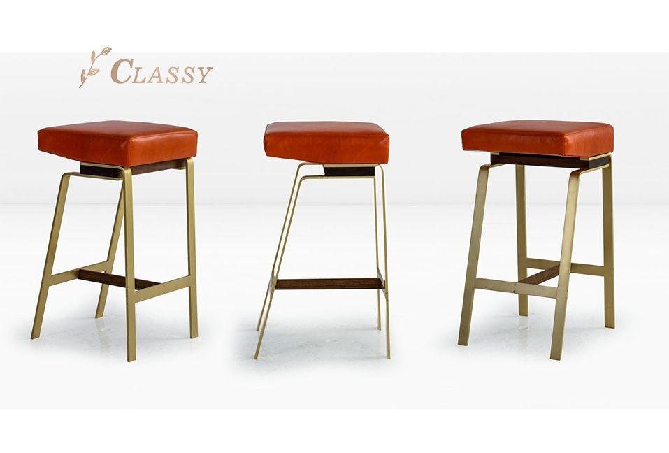 Gavilan Bar Stool Velvet Seat Stainless Steel Matte Brushed Golden