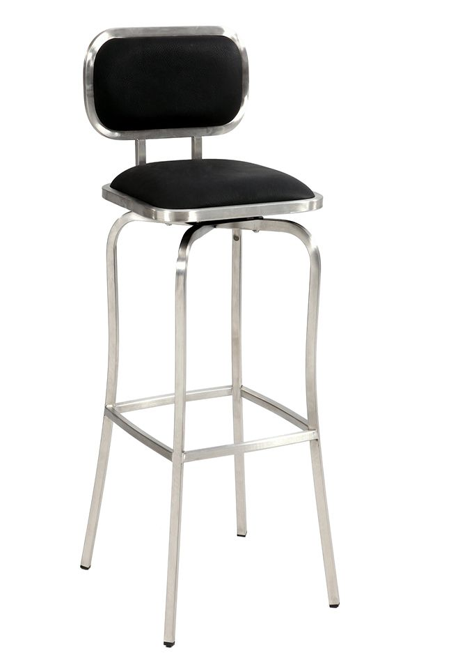 Chintaly Imports Modern Swivel Bar Stool Stainless Steel