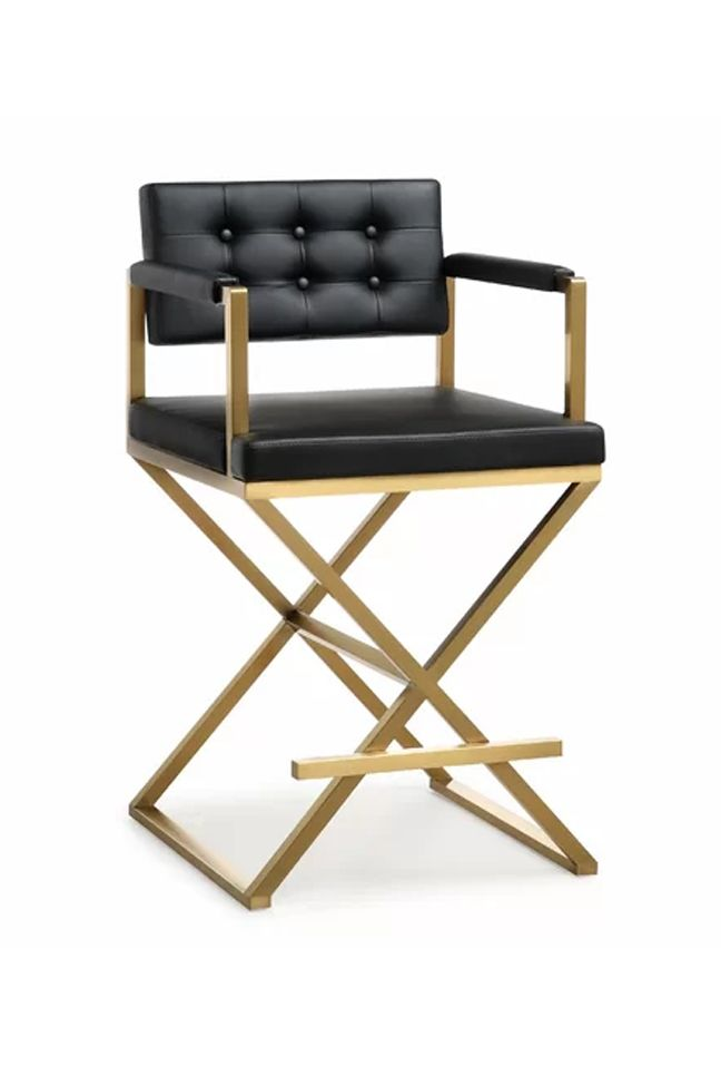 Black And Gold Bar Stool Brushed Golden Stainless Steel and PU