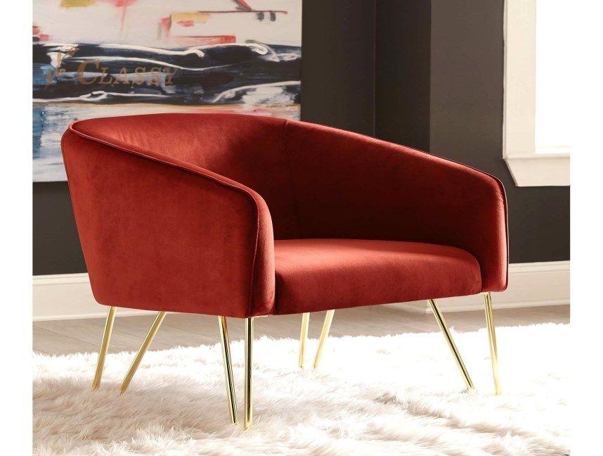 Red Velvet Living Room Armchair