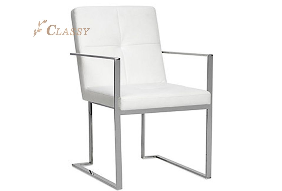 White Leather Sliver Metal Frame Dining Chair