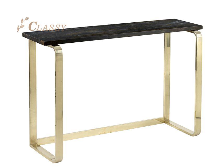 Oak Wood Veneer Console Table