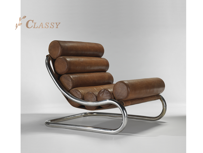 Metal Leather Lounge Chairs
