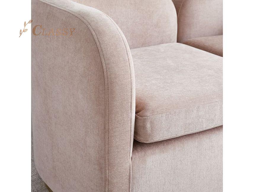 Luxury Armchair Gold Steel Metal Velvet Upholstered Leisure Chair Modern Accent Chair For Living Room