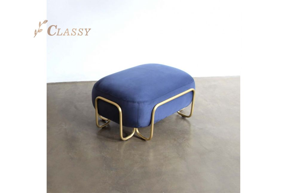 Blue Pipeline Steel Stool
