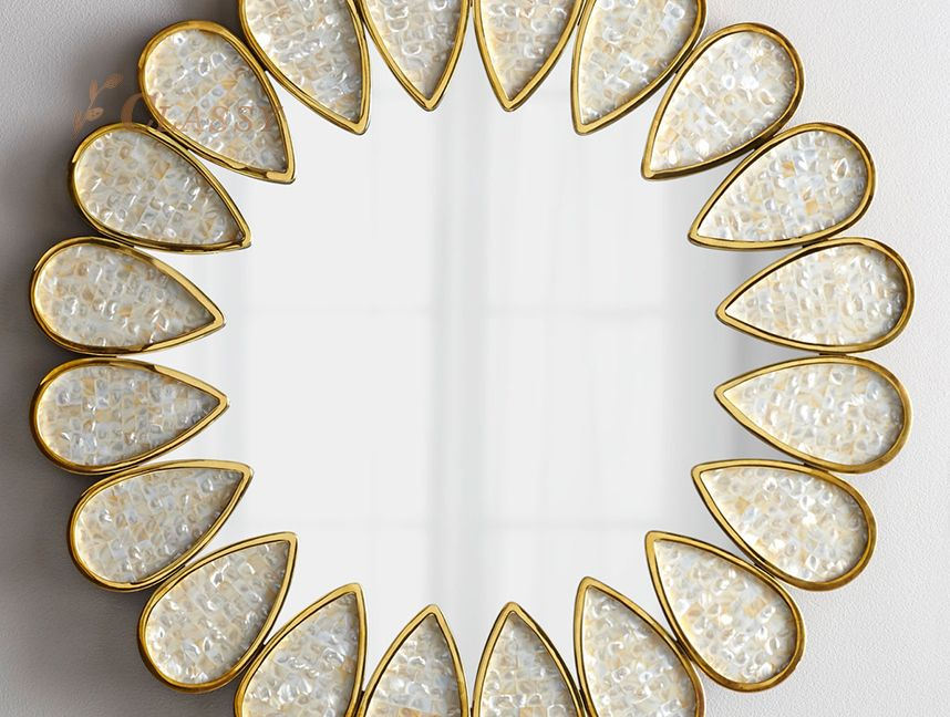 Crystal Golden Frame Mirror for Bathroom