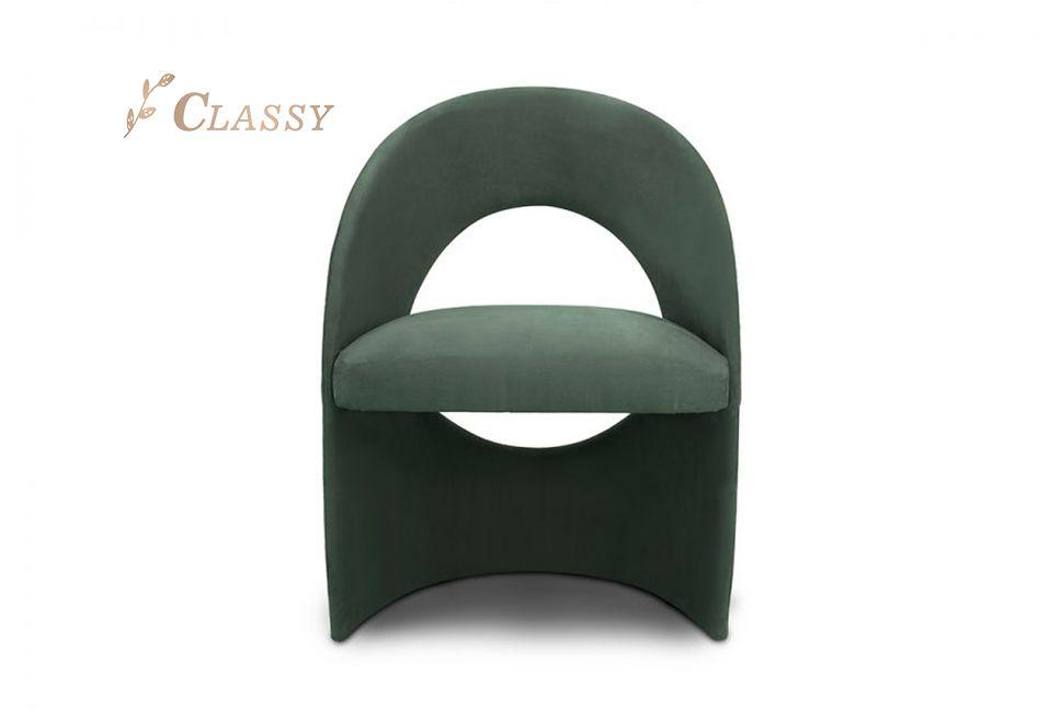 Metal Back Green Velvet Chair