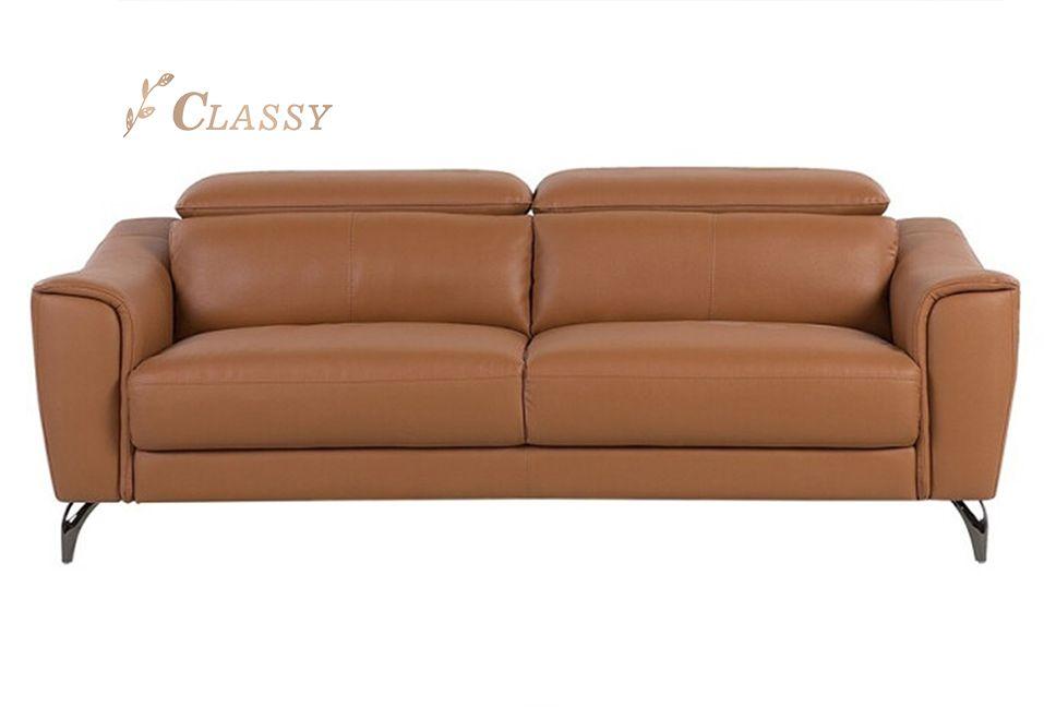 Leather Adjustable Backrest Sofa