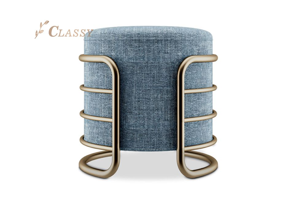 Metal Furniture Fabric Ottoman Stool