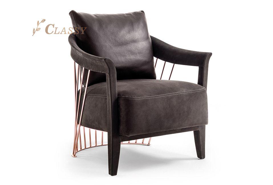 Metal Backrest Velvet Armchair