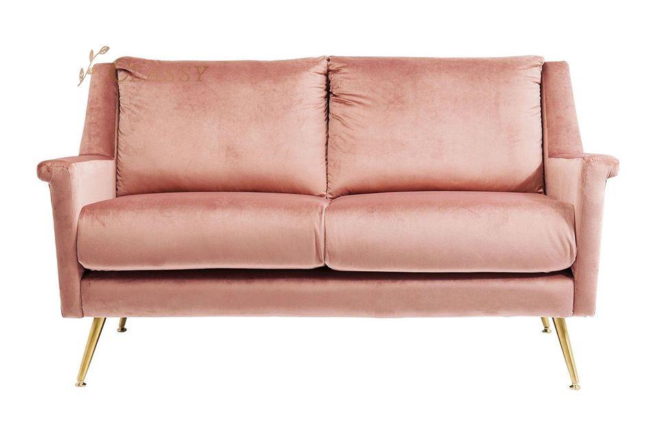 Pink Corner Velvet Sofa