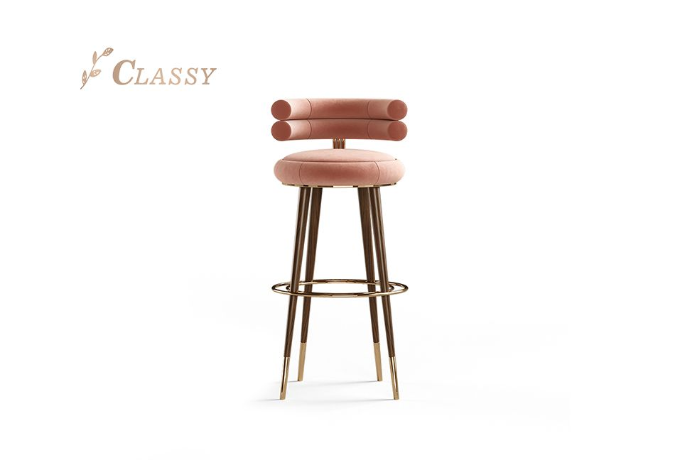 Wooden Frame Round Bar Chair