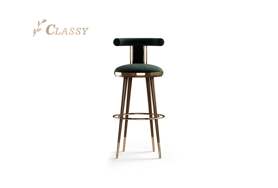 Luxury Bar Counter Chair in Green