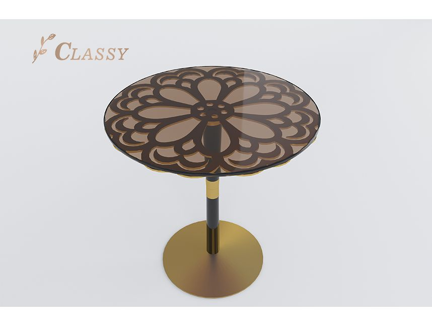 Golden Flower Pattern Side Table