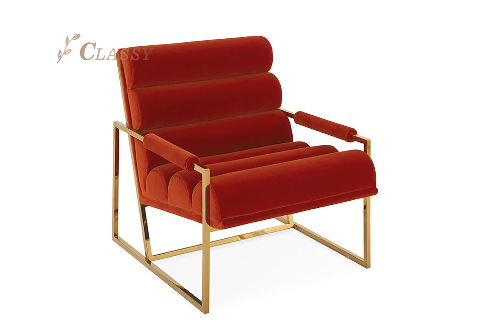 Golden Red Stylish Armchair
