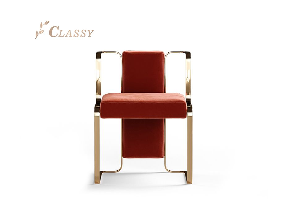 Metal Frame Red Dining Chair