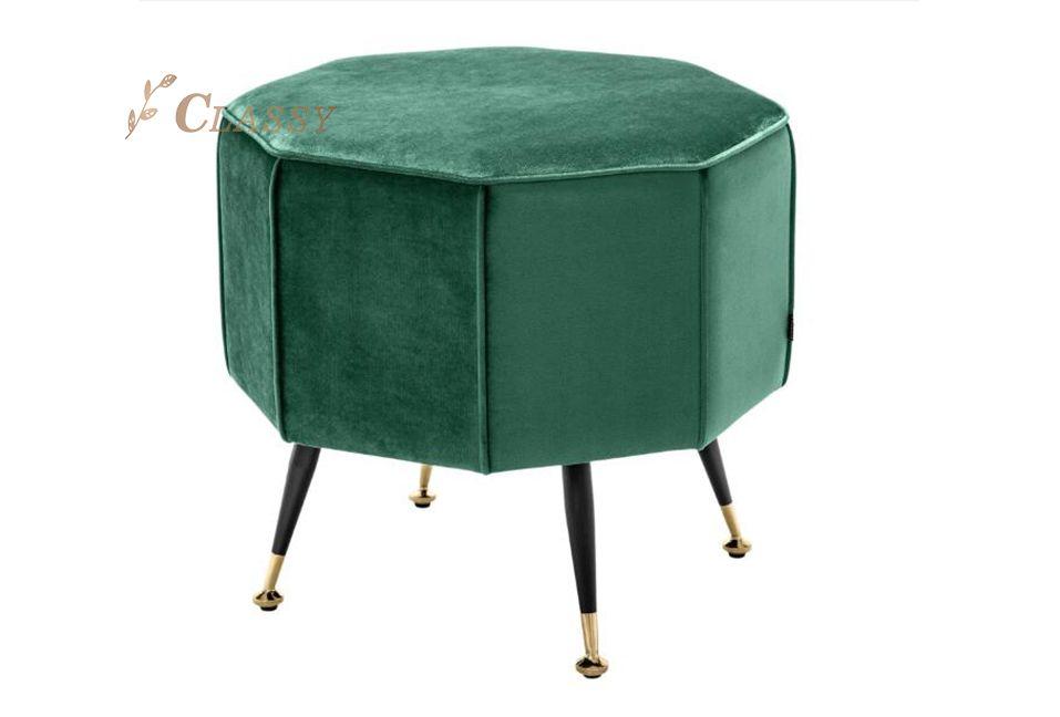 Green Velvet Octagon Stool