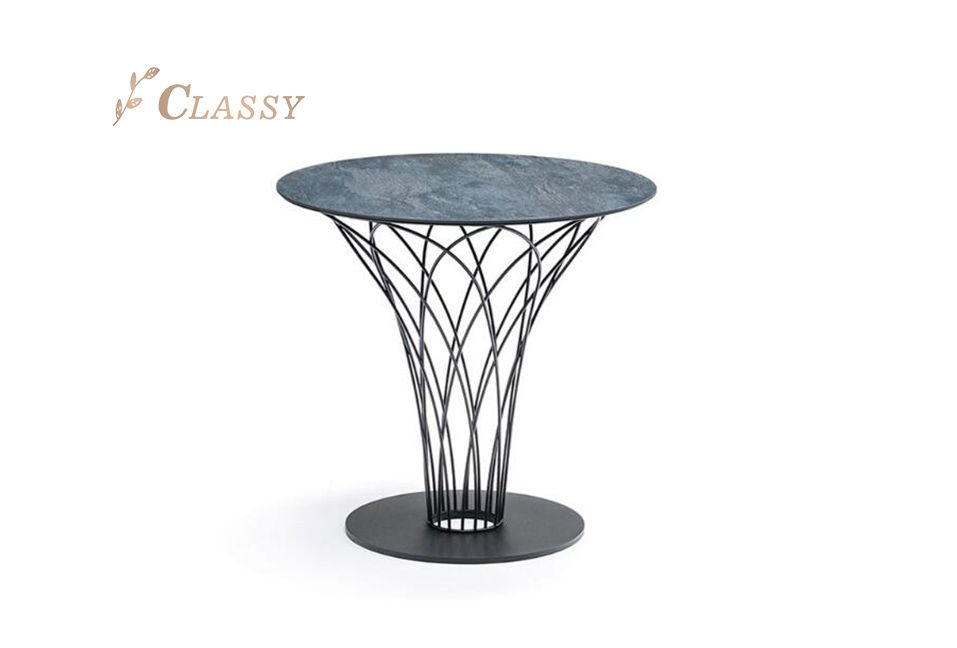 Round Black Coated Dining Table