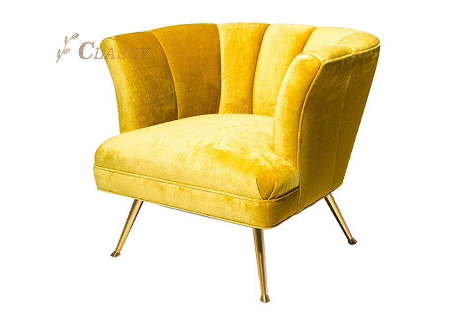 Yellow Shell Shape Leisure Armchair