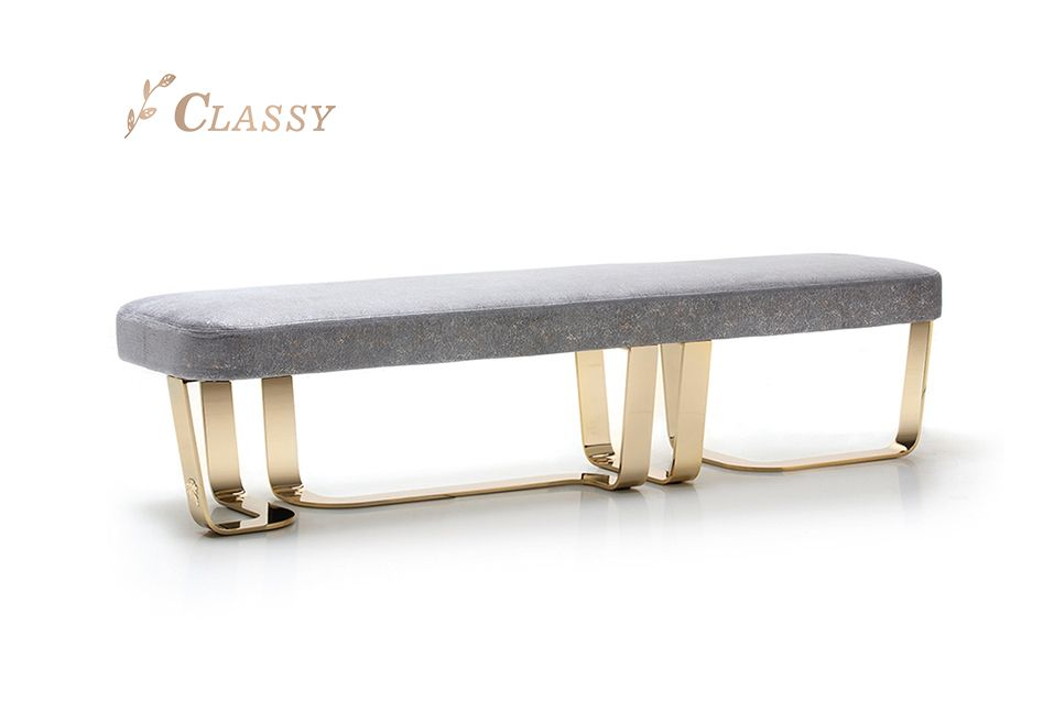 Metal Base Velvet Bench