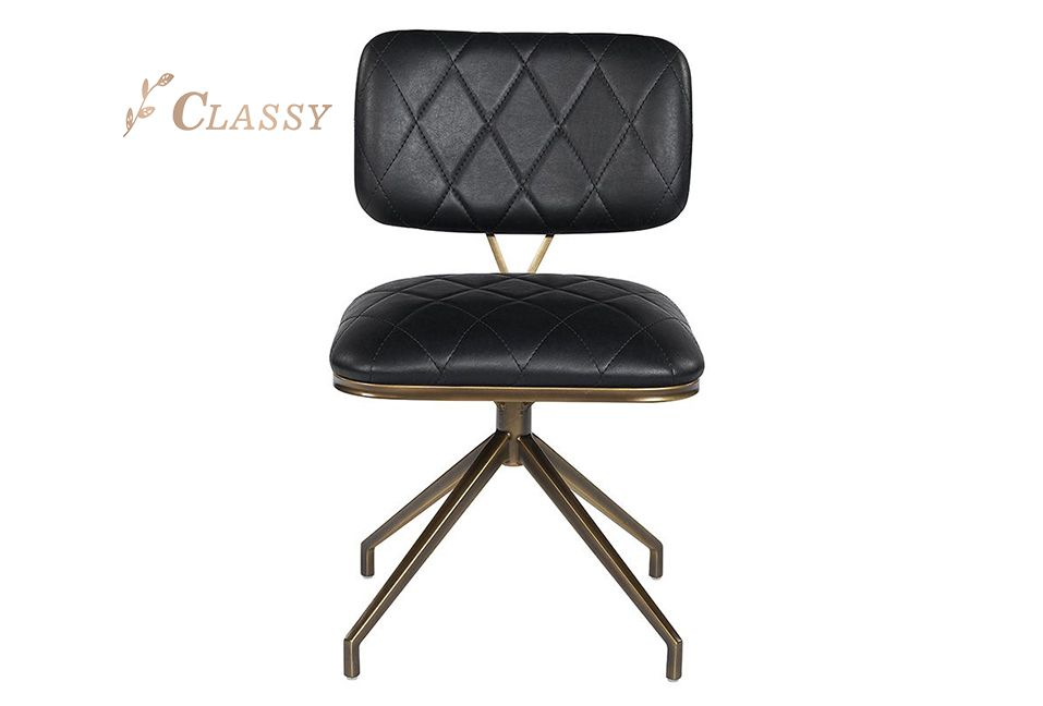 Modern Black Leather Swivel Dining Chair Writing Chair With Brass Stainless Steel Base