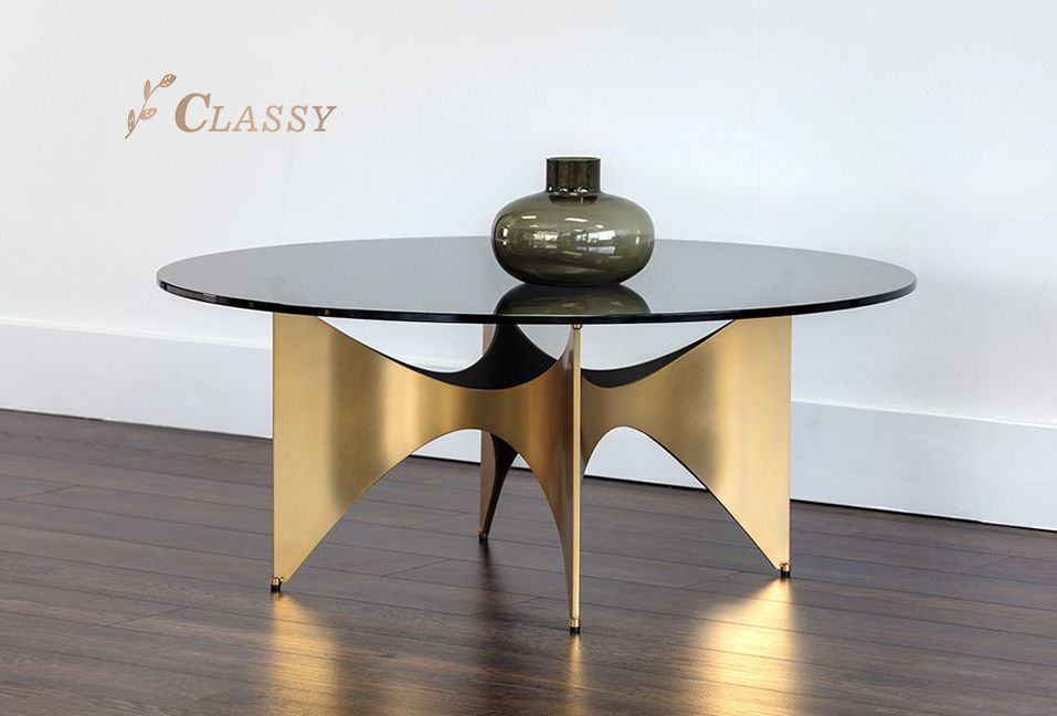 Luxury Glass Coffee Table With Brass Base